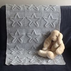 Made-by-Stientjen. Baby deken met sterren. Crochet baby-blanket. Bobble star blanket. Patroon angelshandmadewithlove.blogspot.nl