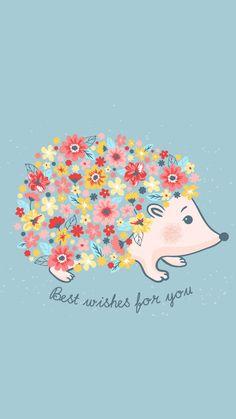 Best Wishes for You Kawaii Wallpaper, Iphone Wallpaper, Animal Drawings, Cute Drawings, Box Creative, Hedgehog Art, Cute Creatures, Cute Illustration, Cute Wallpapers