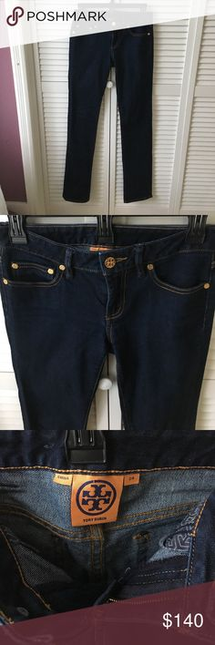 """Tory Burch Straight Leg dark wash jeans 24 Tory Burch   Straight Leg   size 24 or 00   jeans   dark wash   Classic logo on the gold buttons and on the back on a logo patch. Inseam 32"""". Perfect condition. Only worn once. So sad to see these go but I can't fit into them anymore. In need of a good home Tory Burch Jeans Straight Leg"""
