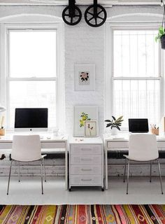Shop domino for the top brands in home decor and be inspired by celebrity homes and famous interior designers. domino is your guide to living with style. Home Office Design, Home Office Decor, Office Furniture, Office Desk, Home Decor, Office Spaces, Office Style, Double Desk Office, Condo Design