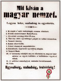 What Does the Hungarian Nation Want? The twelve demands of the 1848 Hungarian Revolution. Hungary, Coloring Books, Education, History, School, March, Festivals, Google, Spring