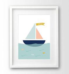 """Kinder Drucken """"Ahoi"""" Kindergarten-Kunst, Baby Wand, Schiff-Print, nautische Kunstdruck"""