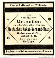 Original-Werbung/ Anzeige 1897 - DEUTSCHES KAKAO -VERSANDTHAUS HOHMANN - HALLE - ca. 45 x 45 mm