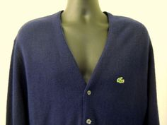 Lacoste IZOD Sweater Mens Large Blue Button Front Alligator Logo Cardigan Vntg #Lacoste #Cardigan
