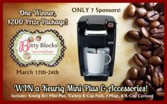 ATTENTION, ATTENTION!!!! I have a HUGE announcement that you are going to LOVE! GIVEAWAY runs Monday 3/17-3/24 and YOU could WIN a Keurig Mini Plus & Accessories!! The BEST part next to the prize is that there are ONLY 7 sponsors of this $200 valued prize. It literally will take you seconds to enter. Enter here- http://tinyurl.com/p6vzz5d