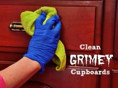 Cleaning Grimy Wood Kitchen Cabinets Can Be Tricky Because Of Grease Build  Up. This DIY