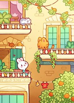 These are some ReAlLy cute animals in thier apartments Cute Kawaii Drawings, Kawaii Doodles, Cute Doodles, Cute Animal Drawings, Kawaii Art, Cute Art Styles, Dibujos Cute, Plant Drawing, Kawaii Wallpaper