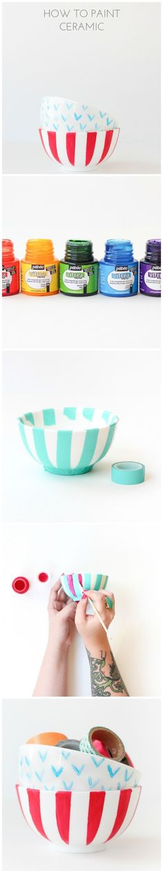 How to paint ceramic/china/glass and make it dishwasher safe!