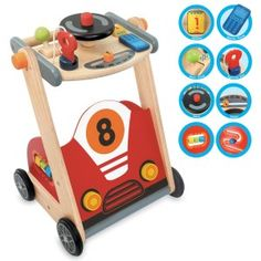 I'm Toy - Racing Walker: Make the first step easy and safe with this adorable racing Walker. Watch them zip around the house in no time flat!   This unique walker features an ignition key, mobile phone, horn, gear stick, spinner, slider and abacus.  What more could any budding race car driver need? #alltotstreasures #i'mtoy #racingwalker #woodentoys #walker #racecar #1stbirthdayideas