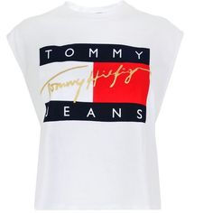 Tommy Jeans Flock Crop T Shirt ($45) ❤ liked on Polyvore featuring tops, t-shirts, white, crew neck t shirt, white sleeveless top, white crew neck t shirt, crewneck tee and crew t shirts