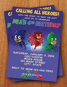 Hey, I found this really awesome Etsy listing at https://www.etsy.com/listing/258090009/pj-masks-digital-birthday-invitation