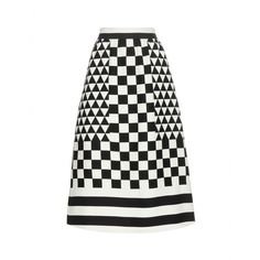 Valentino - Printed wool and silk-blend skirt - Geometric prints were all over the runways this season, and this Valentino skirt is the chicest way to wear the trend. It's cinched at the waist before falling to a perfectly flared midi length. Team the black and white style with a brightly coloured pair of pumps or sleek over-the-knee boots. seen @ www.mytheresa.com
