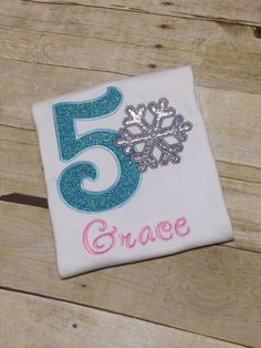 Frozen Birthday Shirt Snow Flake Personalized by TwoSewinCute
