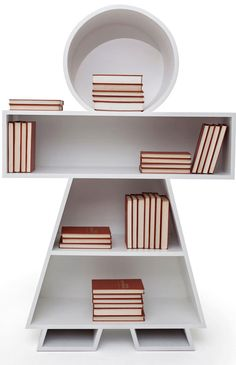 Inspired by paper doll chains and the gingerbread man, this amusing bookcase is a fresh take on the traditional book cabinet. From the DesignerPad.