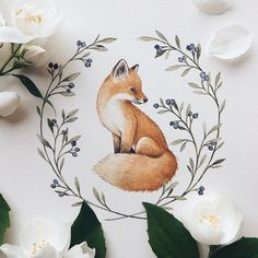 Animal art fox inspiration New ideas Doodle Drawings, Animal Drawings, Easy Drawings, Art Floral, Floral Flowers, Art Fox, Art Amour, Wreath Drawing, Art Et Illustration