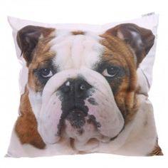Cuscino divano arredo casa letto tessuto cane cagnolino bulldog