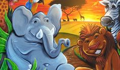 Acrylic mural painting I created of a colorful jungle with an elephant ...