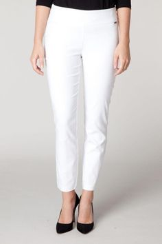 """Lightweight soft white pant with great stretch.  Measures 28"""" length.  White Lightweight Pant by Yest. Clothing - Bottoms - Pants & Leggings - Slim Maine"""