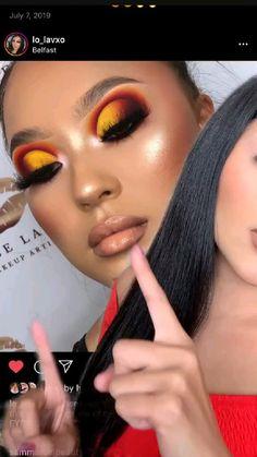 Dope Makeup, Bold Eye Makeup, Orange Makeup, Creative Eye Makeup, Makeup Eye Looks, Dark Skin Makeup, Colorful Eye Makeup, Eye Makeup Art, Dramatic Makeup