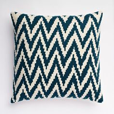 Chevron Crewel Pillow Cover in Blue Lagoon from West Elm ($44)