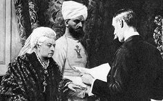 "Queen Victoria and her Indian attendant the Munshi Hafiz Abdul Karim. After arriving from the subcontinent in 1887, he quickly won the monarch's devoted affection and became known as the ""Indian John Brown"".His influence over the queen was so envied that when Victoria died her son King Edward ordered palace guards to destroy correspondence she sent to the Munshi to erase all record of their relationship."