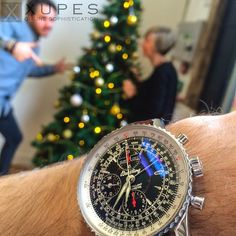 Setting up the #Christmas tree on #November 14th with our #Breitling #Navitimer | xupes.com