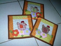 Hens on hot pads. Cute applique stitching. Country kitchen.