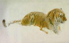 Robert bateman Watching Siberian Tiger