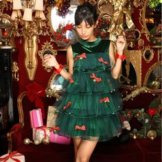 Green Christmas Tree Carnival Christmas Costumes Dress costume party Parent Child Clothes Girl and Mom Christmas Party Dress