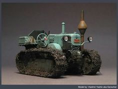 Tractor Model By Vladimir Yashin. Love the weeds on the treads.
