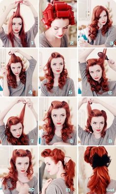 Victory rolls - Easy to do I usually cheat and use a backcombing brush as that and hairspray are they keys to pulling it off.