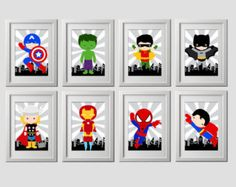 superhero wall art decor bedroom prints 12 by AmysSimpleDesigns