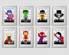 PICK 6 superhero wall PRINTS Super hero wall by AmysSimpleDesigns