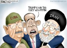 """""""Trump is way too cozy with Putin."""" sez the Prez, as he cosies up to his pals Cuba and Iran. Pot kettle black? Yup."""