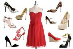 Que zapatos usar con vestido largo rojo