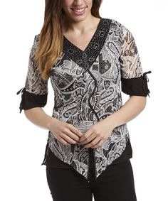 Another great find on #zulily! Black & White Paisley V-Neck Top by Simply Irresistible #zulilyfinds