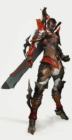 I love that it's just enough red to be cool but not too loud. -Z warrior Character Design References, Game Character, Character Concept, Concept Art, Fantasy Male, Fantasy Armor, Fantasy Weapons, Fantasy Characters, Female Characters