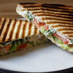 Garlicky Grilled Avocado, Tomato, Red Onion and Basil Toasty - vegan
