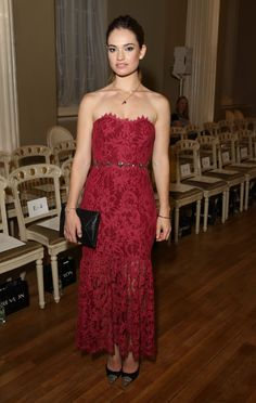Marchesa always seems to have a princess-like feel, but there's something especially wondrous about this magenta sweetheart dress with lace skirt overlay.   - MarieClaire.com