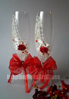 Romantic Style Glasses, Hand Painted Wedding Glasses, Champagne Toasting Flutes, Wine Glasses with Red Roses, Set of 2