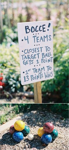 Bocce ball yard game ideas and signs. #weddingchicks http://www.weddingchicks.com/2014/06/23/fall-wine-country-wedding/
