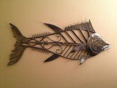 Items similar to Metal art sculpture Tuna ocean game fish for yard garden or interior wall hanging decor on Etsy Metal Yard Art, Metal Tree Wall Art, Metal Artwork, Tree Artwork, Metal Art Sculpture, Fish Sculpture, Wall Sculptures, Copper Wall Art, Metal Fish