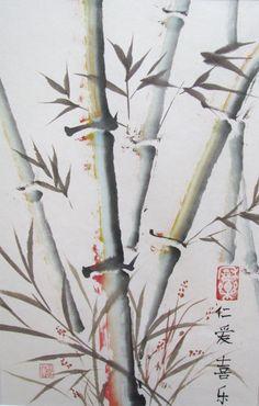 peinture chinoise sur papier de riz marouflé