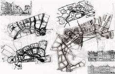 Архитектурно-планировочная концепция жилой застройки в Кирове. Эскизы. Проект, 2015 © Архстройдизайн Concept Models Architecture, Conceptual Architecture, Architecture Portfolio, Architecture Details, Urban Design Diagram, Urban Design Plan, Master Plan, Urban Planning, Concept Diagram