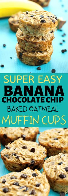 THE BEST ever Banana Chocolate Chip Baked Oatmeal Muffin Cups. These healthy muffins are so easy to make and everyone raves about them. dairy free gluten free healthy breakfast or snack recipe idea!