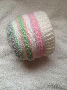 Pastel stripes baby beanie hat by Seasonknits - Craftsy