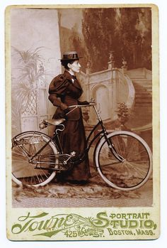 """This photography shows Annie Londonderry. She became one of the most celebrated women of the 1890s. Her amazing trip was reportedly set in motion by a wager that required Annie not only to circle the earth by bicycle in 15 months, but also to earn 5,000 dollars en route as well. This was no mere test of a woman's physical endurance and mental fortitude; it was a test of a woman's ability to fend for herself in the world."""