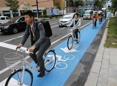 In Japan motor bikers or known to take over the bicycle lane. Sapporo City finally did the right thing. A line guided bicycle lane to keep the bad boys out.
