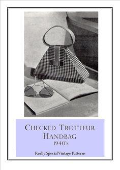 1940s Purse Bag Pattern Checked Trotteur von PamoolahVintage