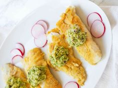 Enjoy crispy fried fish made in a healthy way. This recipe tops oven fried cod with a dollop of avocado puree for a diabetes-friendly main course. Pureed Food Recipes, Fish Recipes, Seafood Recipes, Paleo Recipes, Low Carb Recipes, Cooking Recipes, Yummy Recipes, Cod Recipes, What's Cooking